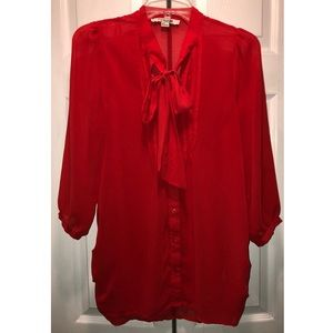 Forever 21 red blouse with a tie in front size med